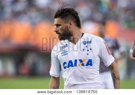 Rio de Janeiro Brazil - April 10 2016: Rafael Sobis player in match between Fluminense and Cruzeiro by the Brazilian championship in the Giulite Coutinho Stadium