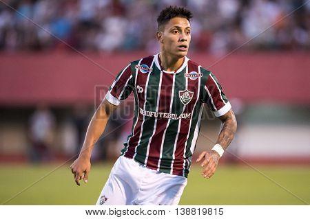 Rio de Janeiro Brazil - April 10 2016: Douglas player in match between Fluminense and Cruzeiro by the Brazilian championship in the Giulite Coutinho Stadium