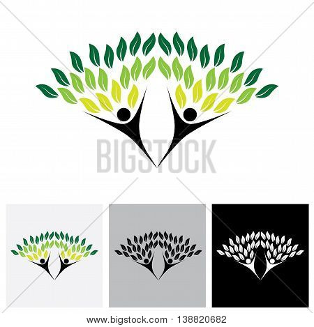 Happy, Joyous People As Trees Of Life - Eco Concept Vector Logo Icon