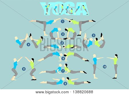 Yoga poses set. Vector image of yoga poses
