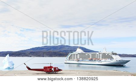 Greenland background beautiful blue cruise destinations earth ecology environment fjord floating frost frozen geography global helicopter helipad holiday holidays ice iceberg industrial journey landing landscape luxury nature nobody north ocean outdoors p