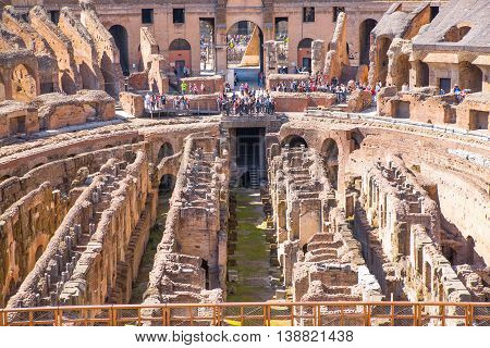ROME, ITALY - APRIL 8, 2016: Ruins of Coliseum, panoramic view with underground levels of gladiator's rooms and animal's cages