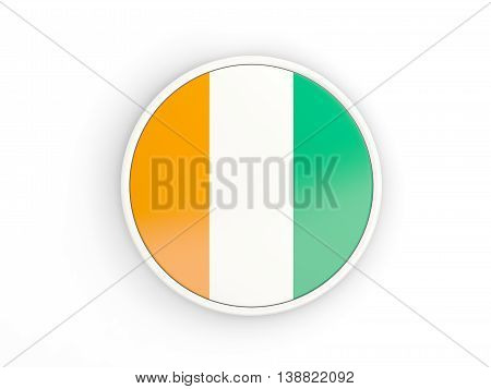 Flag Of Cote D Ivoire. Round Icon With Frame