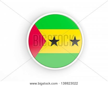 Flag Of Sao Tome And Principe. Round Icon With Frame