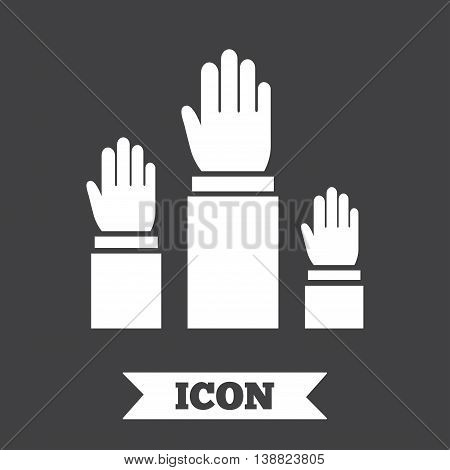 Election or voting sign icon. Hands raised up symbol. People referendum. Graphic design element. Flat elections symbol on dark background. Vector