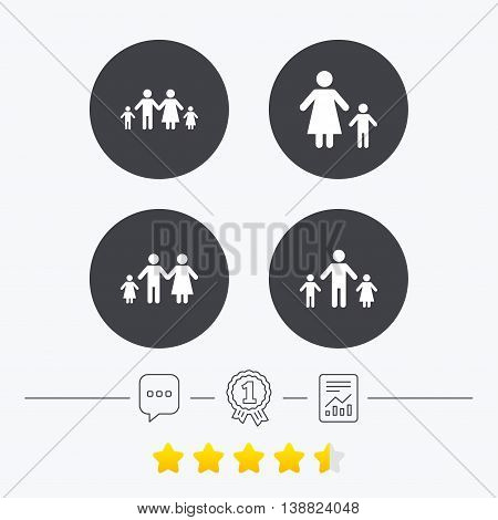 Family with two children icon. Parents and kids symbols. One-parent family signs. Mother and father divorce. Chat, award medal and report linear icons. Star vote ranking. Vector