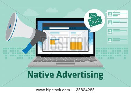 native advertising vector illustration flat design concept