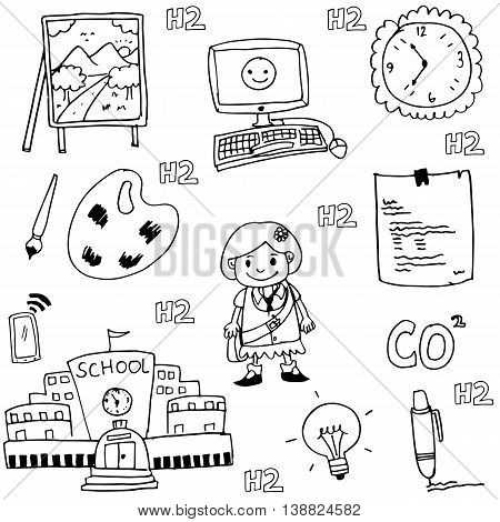 doodle of school collection stock vector art