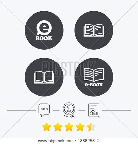 Electronic book icons. E-Book symbols. Speech bubble sign. Chat, award medal and report linear icons. Star vote ranking. Vector