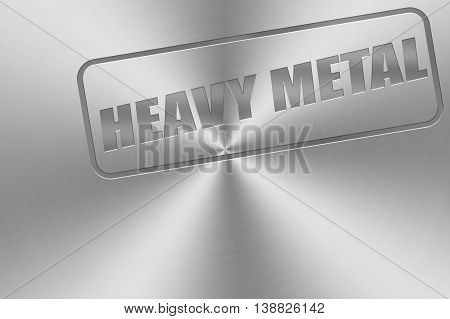 heavy metal word inlay on chrome aluminium texture for metal music theme.