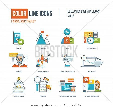 Color thin Line icons set. Secure payments, big sale, time management, financial strategy, operation protection, online banking, research, application development. Colorful logo and pictograms