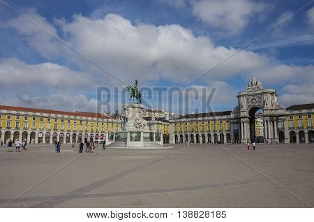 Lisbon, Portugal - March 7, 2010: Equestrian statue of King Jose I and Rua Augusta Arch on the Commerce Square (common name: Palace Square Portuguese: Praca do Comercio Terreiro do Paco) in Lisbon Portugal.