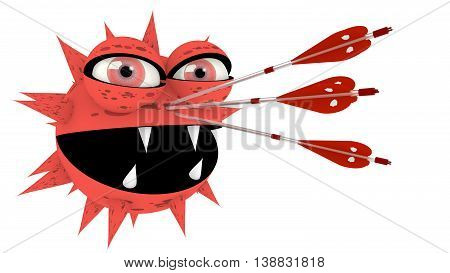 An ugly light red virus with sharp teeth is hit by three silver arrows with shield texture cybersecurity 3D illustration