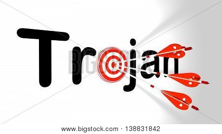 Three silver arrows with a shield texture hitting the word trojan where the letter o is replaced by a circular target 3D illustration cybersecurity concept