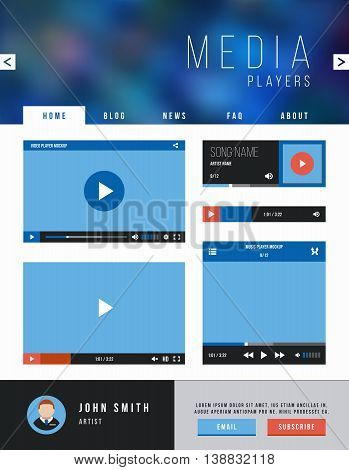 Vector browser web site page with video player ui interface and navigation. Template website with video player, illustration web page and player interface for video
