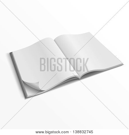 Blank opened magazine cover vector template. Empty paper magazine mockup