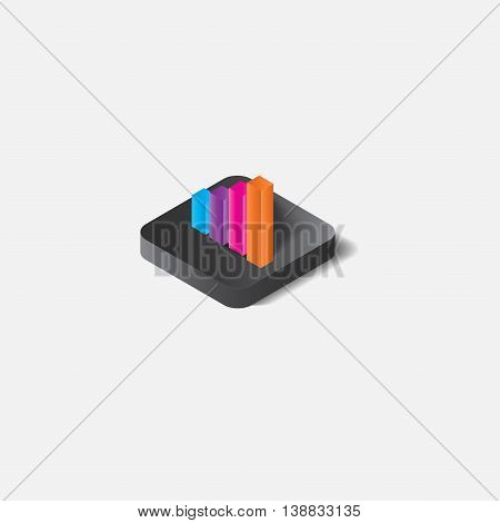 3D graph showing rise in profits or earnings. Vector illustration