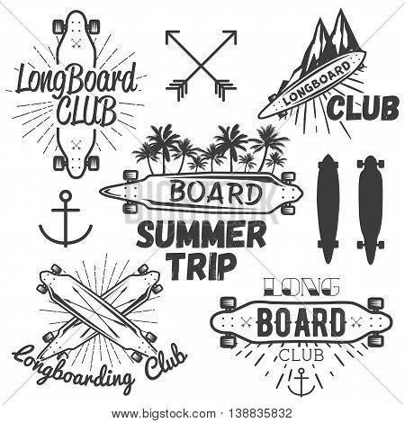 Vector set of longboard skateboard emblems, labels, badges and design elements. Skateboarding concept illustration in monochrome style.