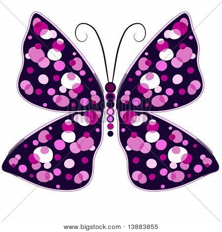 Dark violet decorative butterfly with pink spots isolated on white (vector) poster