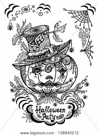 Pumpkin in hat in  Zen-tangle or Zen-doodle style black on white for coloring page or relax coloring book or for decorate package clothes or flyers banners Post Card on celebrating Halloween