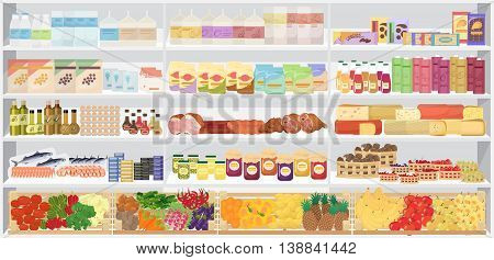 Store supermarket shelves shelfs with products. Vector illustration