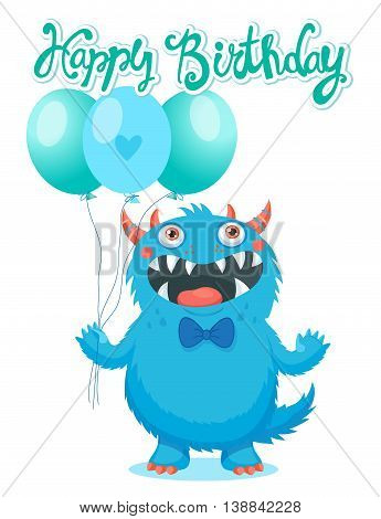 Cute Monster With Color Balloons Vector. Birthday Monster Theme. Funny Monster Birthday Greeting Card.