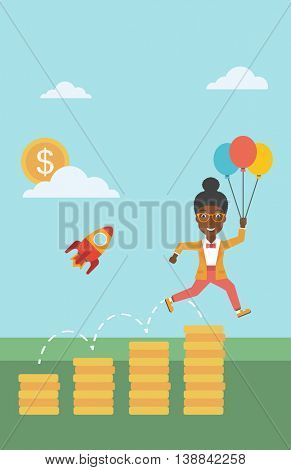 An african-american business woman with balloons flying over golden coins and a business start up rocket flying nearby. Business start up concept. Vector flat design illustration. Vertical layout.