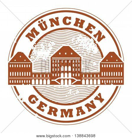 Grunge rubber stamp with words Munchen, Germany inside, vector illustration
