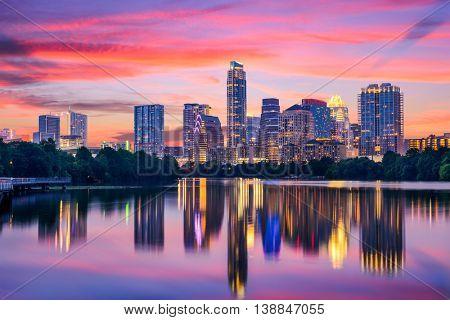 Austin, Texas, USA skyline on the Colorado River.