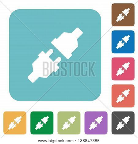 Flat unplugged power connectors icons on rounded square color backgrounds.