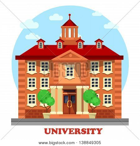 National university for higher postgraduate or undergraduate education facade of building with tower on top, bushes and trees, columns and steps side view panorama