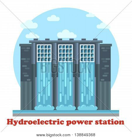 Large hydroelectric power station and water falling from dam or dike, dyke or causeway, levee or seawall. Architecture of sustainable renewable energy generator
