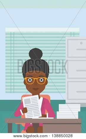 An african-american human resources manager reading application portfolios in the office. Concept of recruitment of staff, job interview. Vector flat design illustration. Vertical layout.