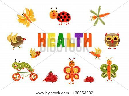 Healthy eating. Little funny vegetables around the word HEALTH
