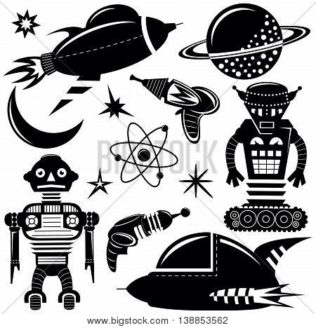 Black vector wall stickers space invaders set with robots spaceships and planets