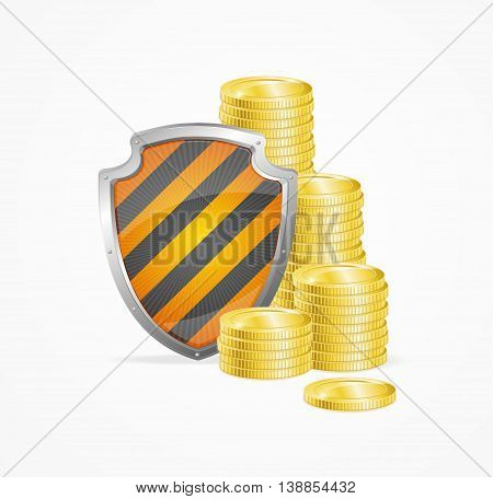 Money Safety Concept Isolated on White Background. Shield and Gold Coins. Vector illustration