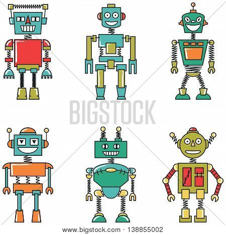 Retro vector colorful smart robots set isolated on white background