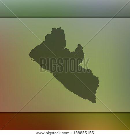 Liberia map on blurred background. Blurred background with silhouette of Liberia. Liberia. Liberia map. Blurred background.