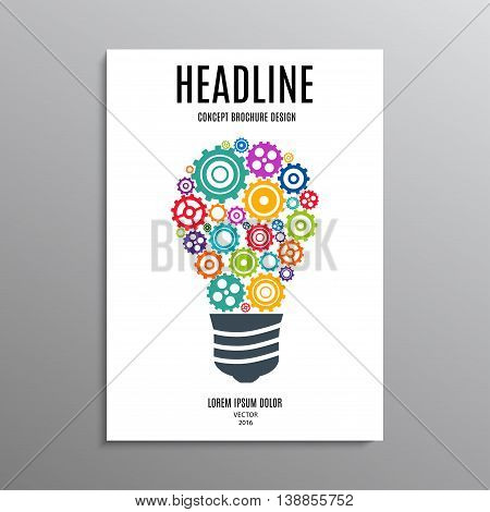 business brochure template or layout design flyer in A4 size with lamp of gears on background. stock vector illustration eps10