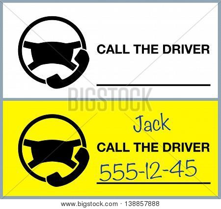 Note call driver. Flat vector stock illustration