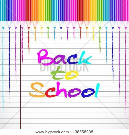 School background with colorful pencils from top on page of notebook in line. Back to school. Vector illustration