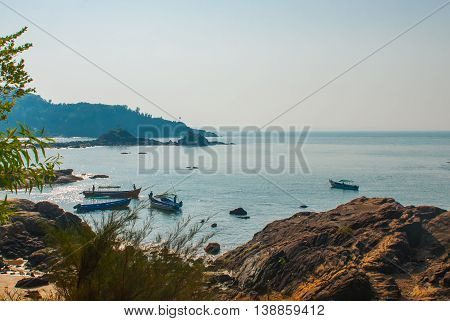 Om Beach. Boats Of Fishermen. Gokarna, Karnataka, India