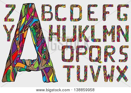 Cartoon abstract alphabet. Font type. Vector stock illustration.