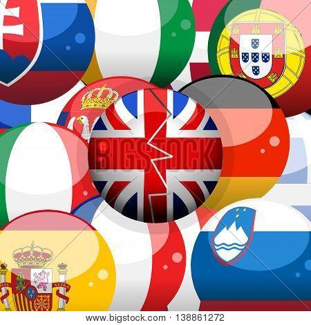 European 3D Flags Spheres Background and Union Jack Broken Sphere on Top