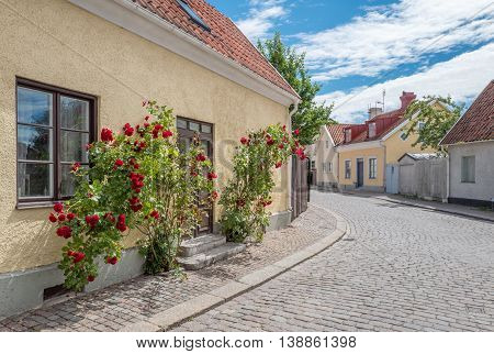 Medieval street in the historic Hanse town Visby on Swedish Baltic sea island Gotland