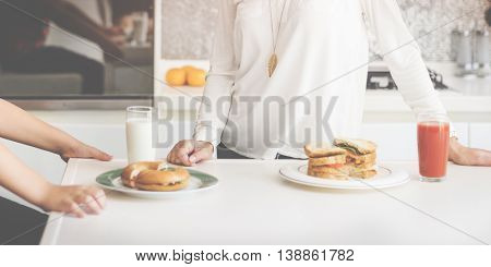 Mother Housewife Cook Brunch Sandwich Concept