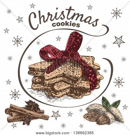 Vector colorful illustration of Christmas cookies with cinnamon and almond. Christmas cookies on white background with snowflakes