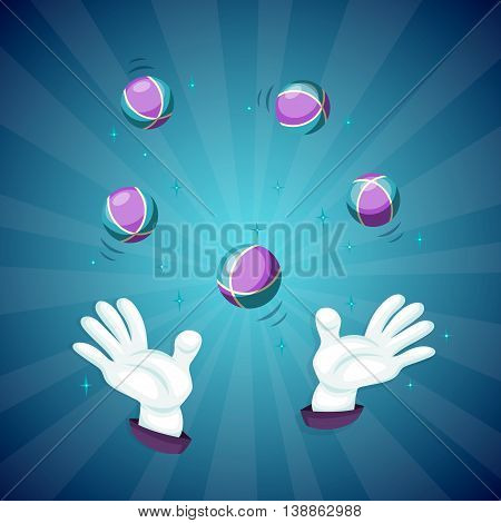 Magic hands show magic trick concept vector illustration. Cartoon magic hands with ball. Concept of trick with magic hands and magic ball. Magic hands isolated vector.