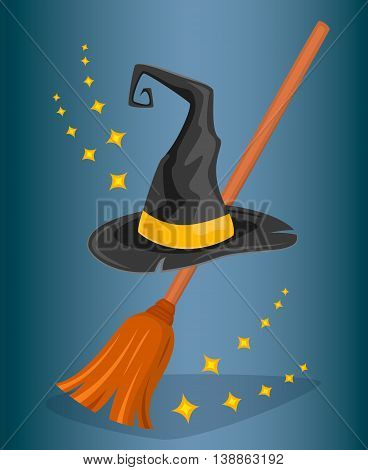 Witch hat or wizard hat and broom witch vector illustration. Halloween costume and cartoon witch hat and elements of magic and fairy tales. Halloween witch hat icon. Cartoon wizard hat vector.