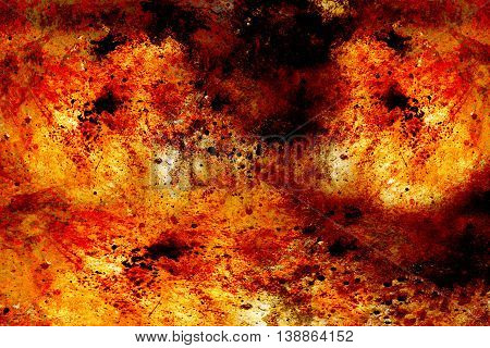 Abstract background with spots in tones of burning fire.